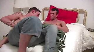 Tatted twink gets fucked hard after long oral session