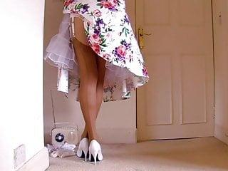 Vintage tea lace dress replica - Retro dress lace panties with tan stockings
