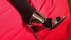 Cum on Silver High Heel Mules