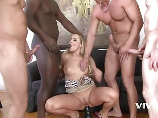 Vivid twin gangbang Shes home all bored until a train of 4 friends stop by