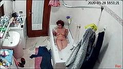 My wife takes a bath.