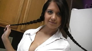 Big Tits Schoolgirl Brunette strips and play with her Boobs