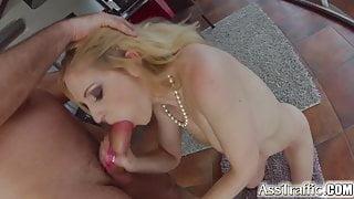 Ass Traffic Blonde swallows cum after hot ass to mouth
