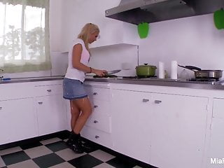 Facial with cucumber - Two hot lesbians fuck each in the kitchen with cucumber