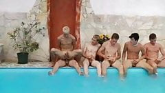 He is taking BARE all his friends in the swimming pool