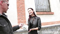 Eager brunette offered cash by stranger
