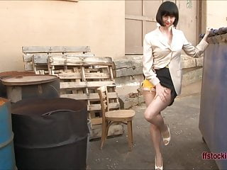 Femdom girdles garterbelts nylons Sleazy milf secretary strips outside in girdle and stockings