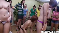 New pledge fucked and humiliated by lesbian sorority babes