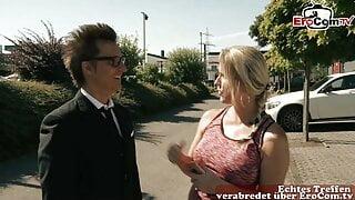 German blonde Milf seduced guy in sauna