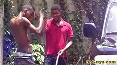 African barebackers getting cum moustache