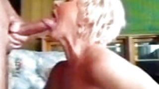 Granny gets a facial and eats cum