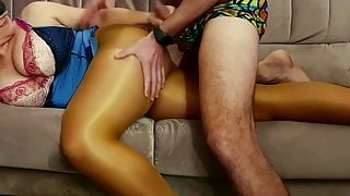 Hot night. Real sex in shiny pantyhose.