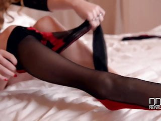 Video man eating her pussy Black lace leotard and pantyhose gets her mans attention