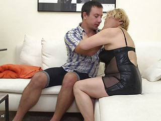 Blackmailed grandmother for sex - Hairy grandmother having taboo sex with boy