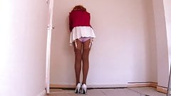 Pleated Miniskirt With Garter Belt And Stockings
