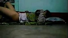 Bangladeshi village girl on the floor
