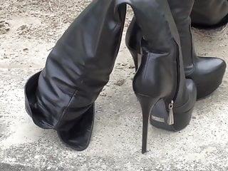 Designer saint eve pajamas bottoms Platform leather thigh boots designer- andrea cancelieri